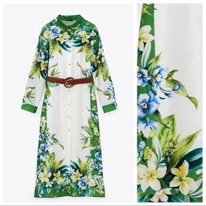 NWT. Zara Satin Belted Shirt Midi Dress. Size M.